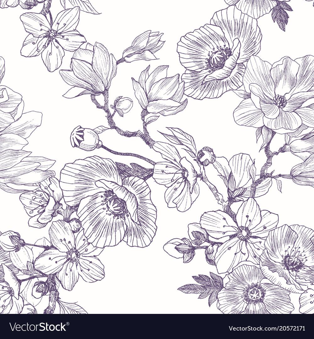 Different beautiful flowers seamless pattern vector image izmirmasajfo