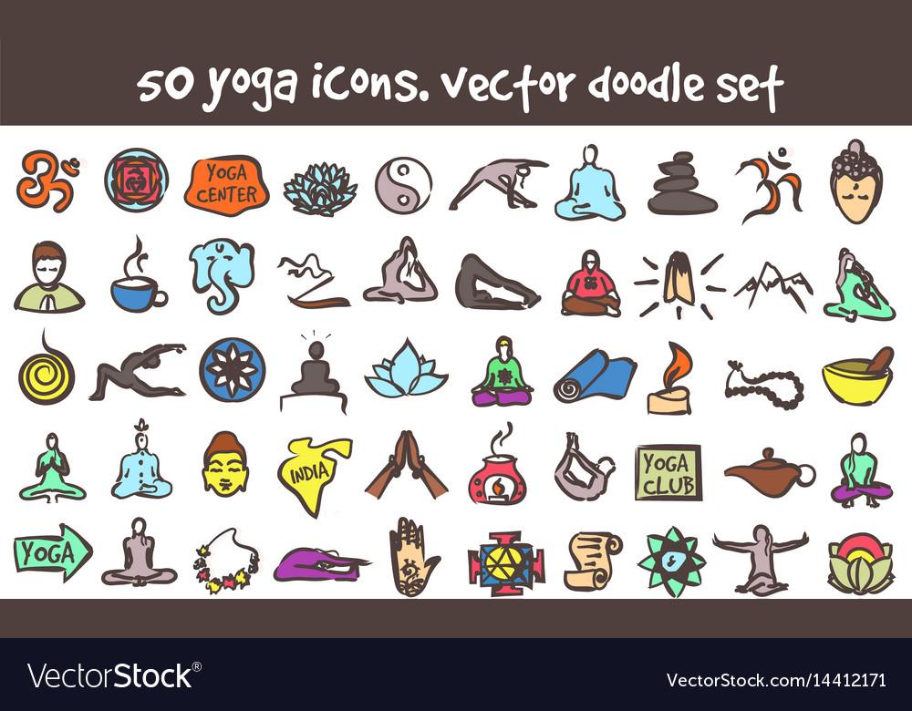 Doodle yoga icons set