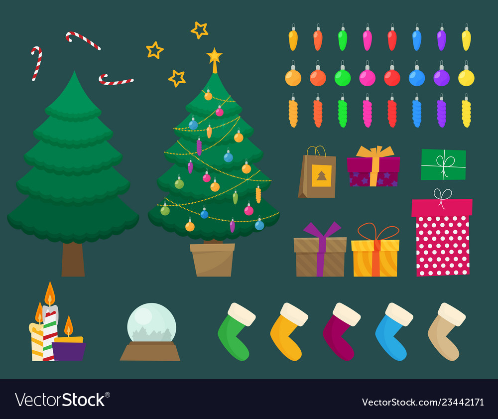 Flat christmas and new year set