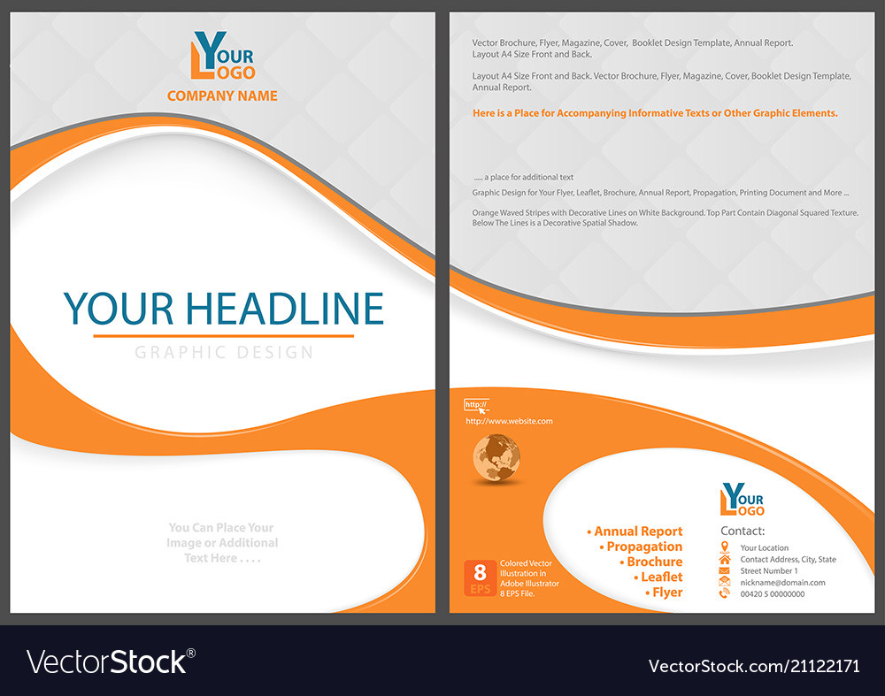 Flyer template with abstract orange shapes vector image