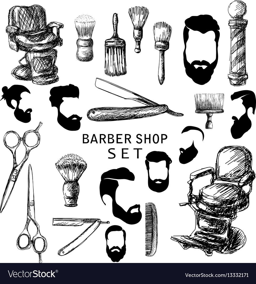 Hand drawn barber shop set