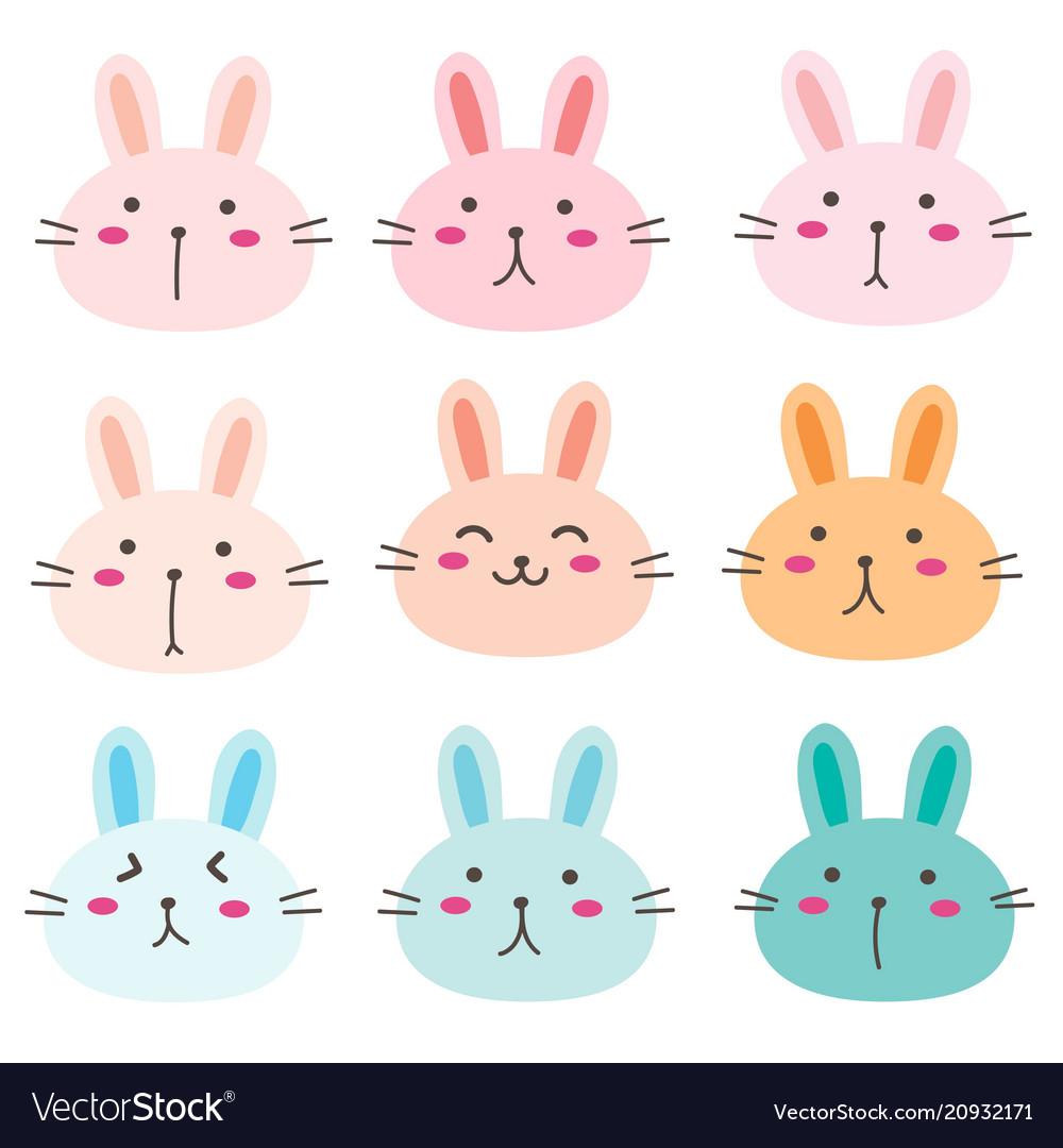 Hand drawn bunny cute characters set