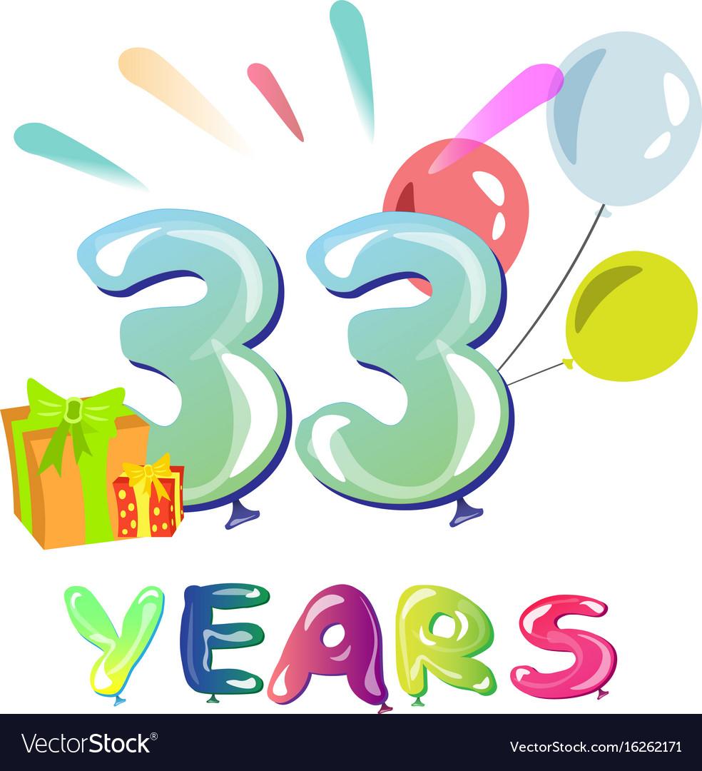 Happy birthday thirty three 33 year vector image