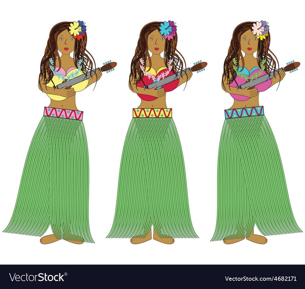 Hawaiian hula girls with guitars