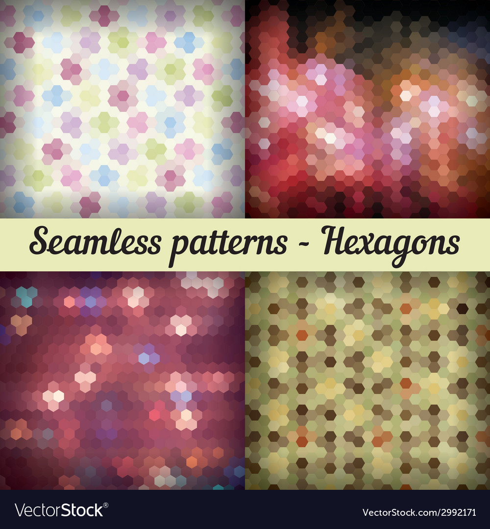 Hexagons Set of seamless patterns Abstract