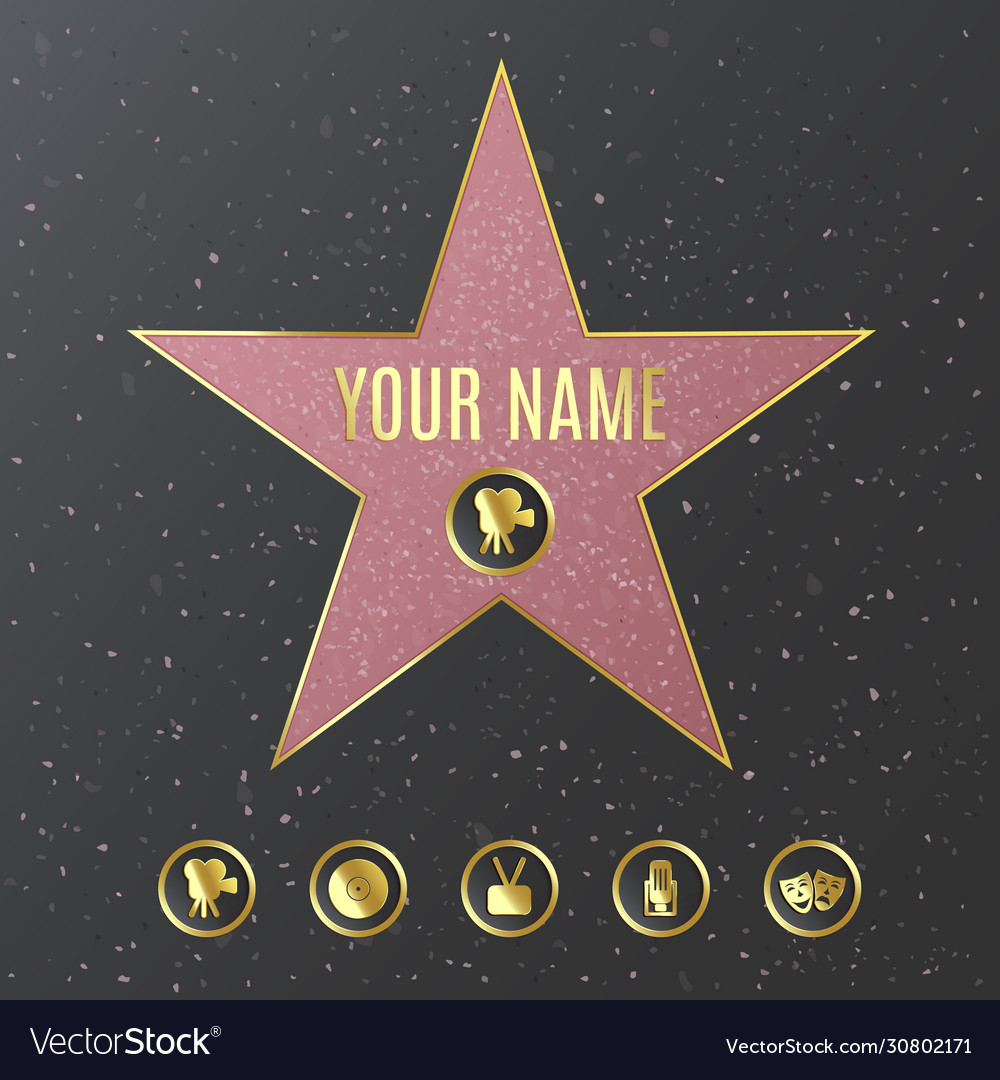 Hollywood Walk Fame Star Name Template Royalty Free Vector