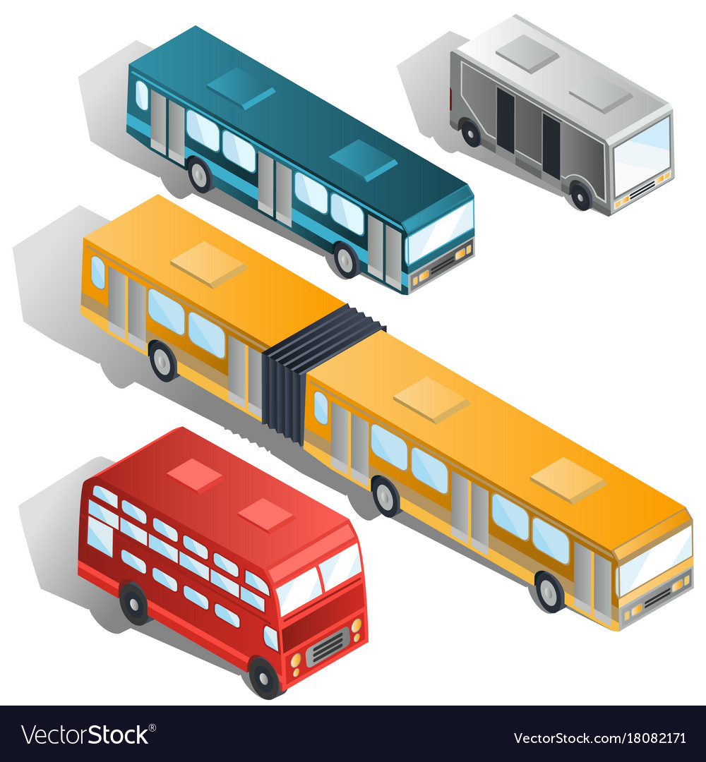 Modern city buses isometric collection