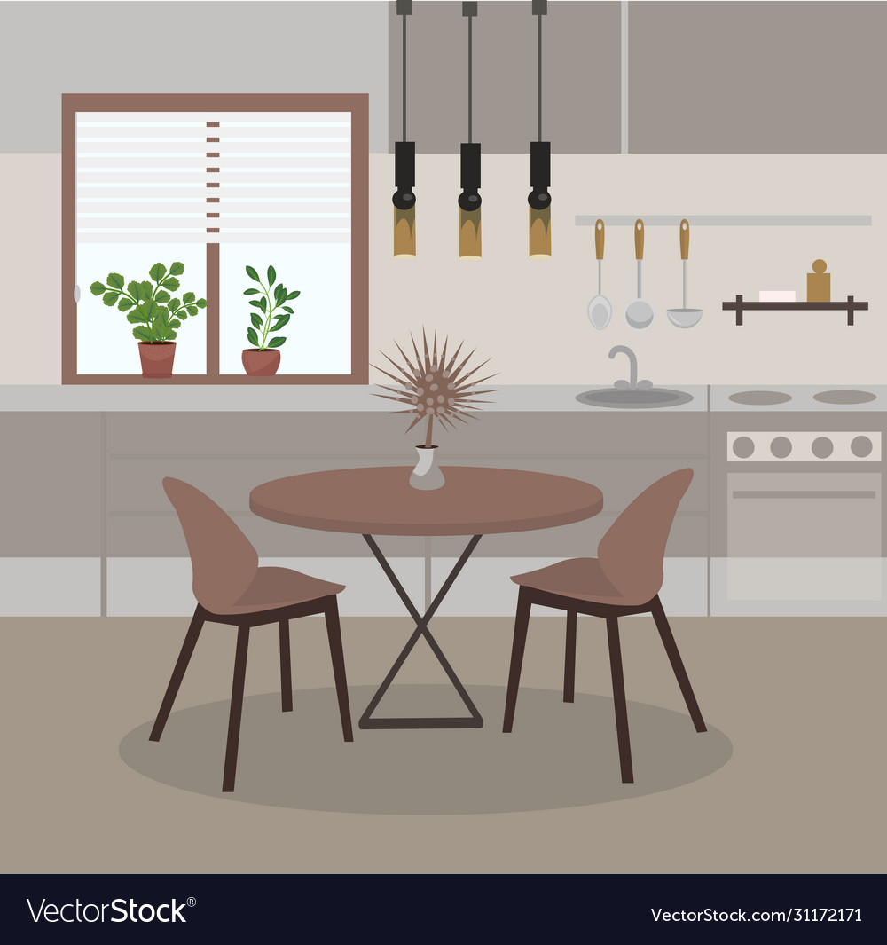 Modern Kitchen Interior With Window Dining Table Vector Image
