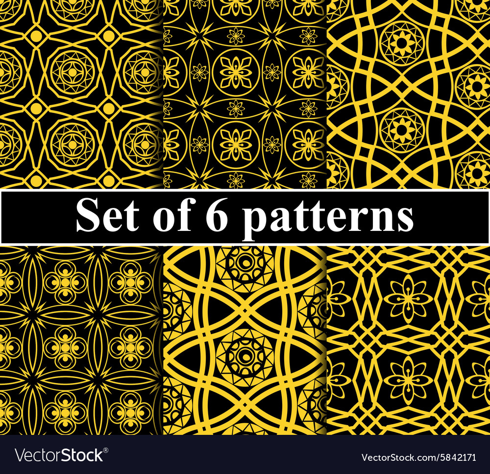 Seamless golden pattern set vector image