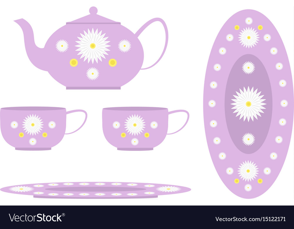 Tea set decorated with flowers