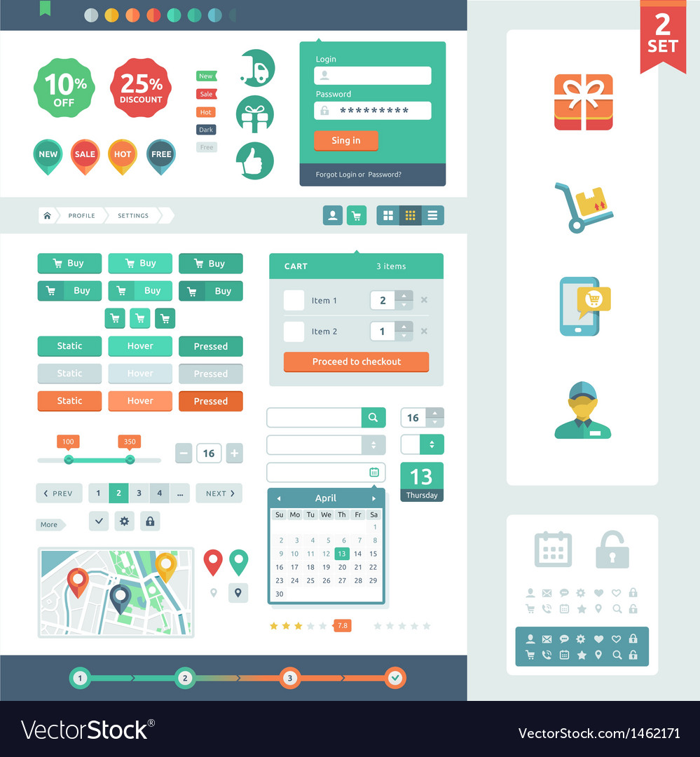 ui elements for web and mobile royalty free vector image