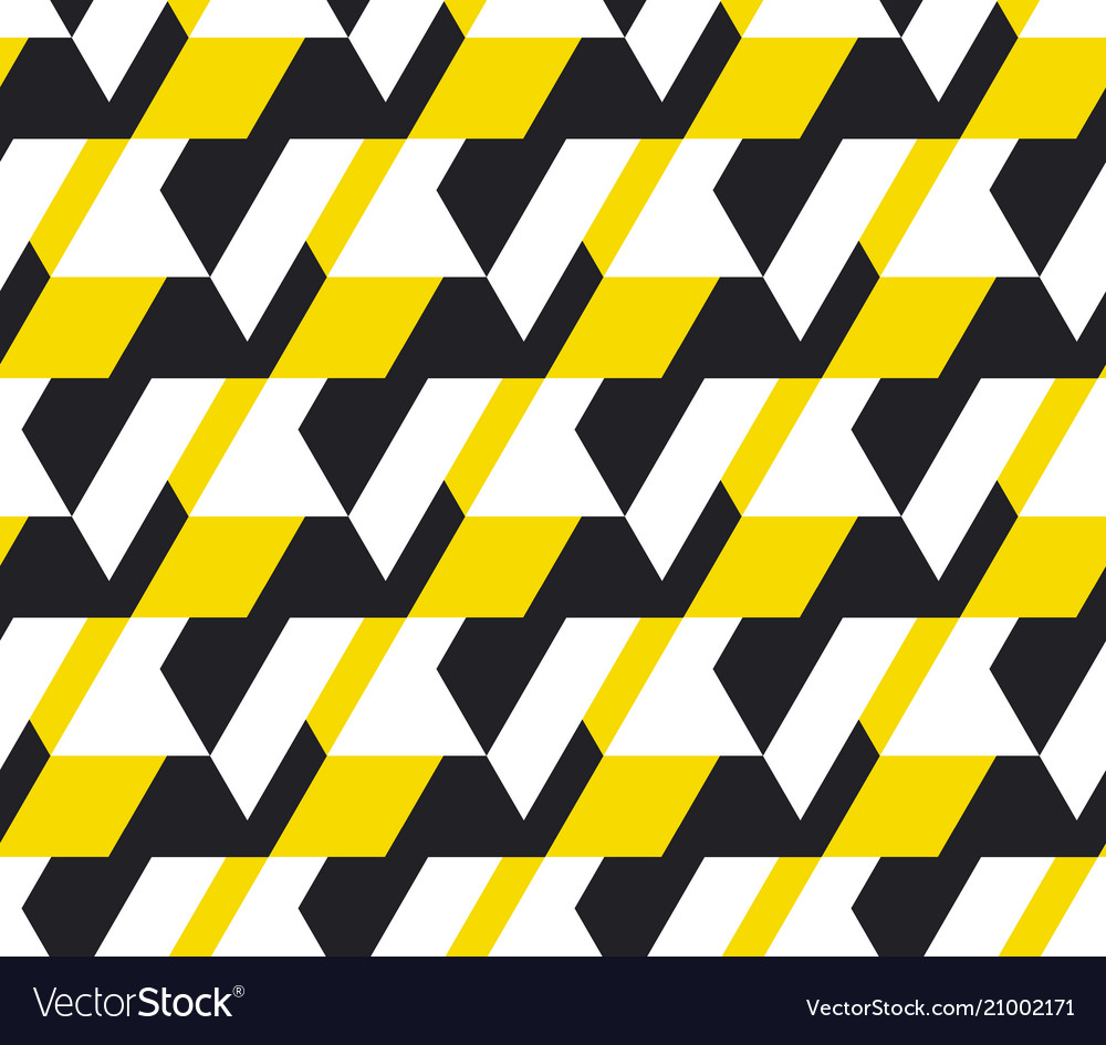 Yellow and balck geometric seamless pattern vector image