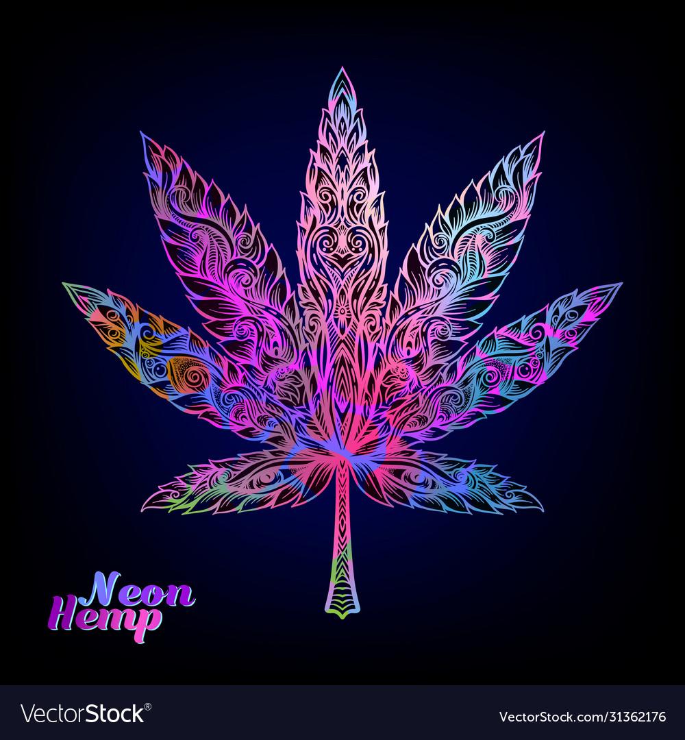 Cannabis leaf decorated with original modern