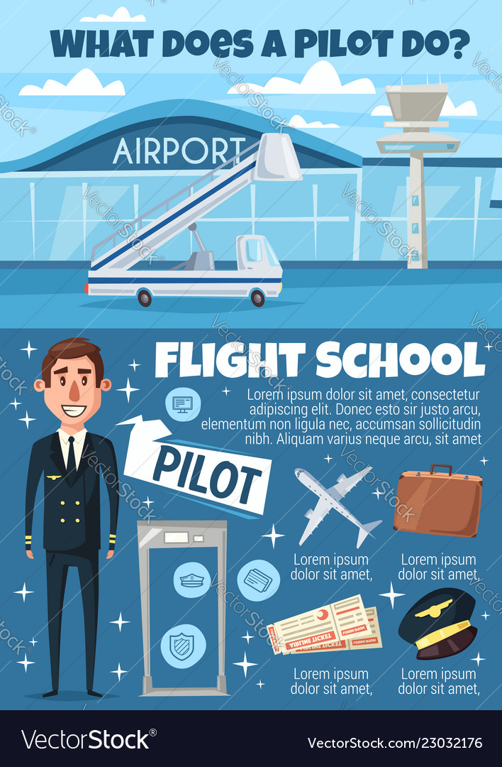 Flight school invitation with pilot and airport