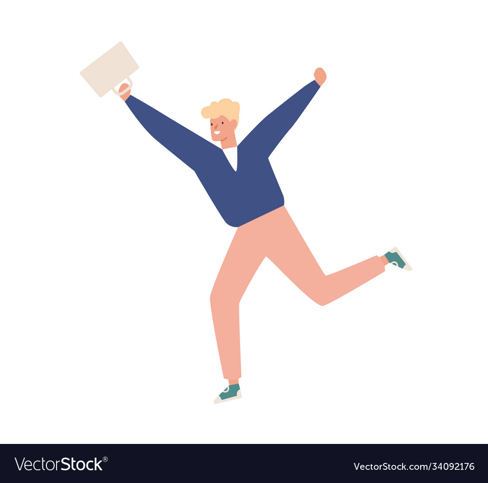 Happy casual teen carrying briefcase running