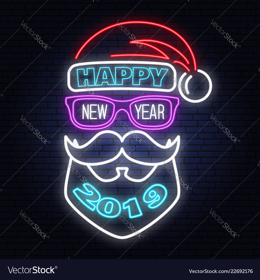 Happy new year stamp sticker set with santa claus