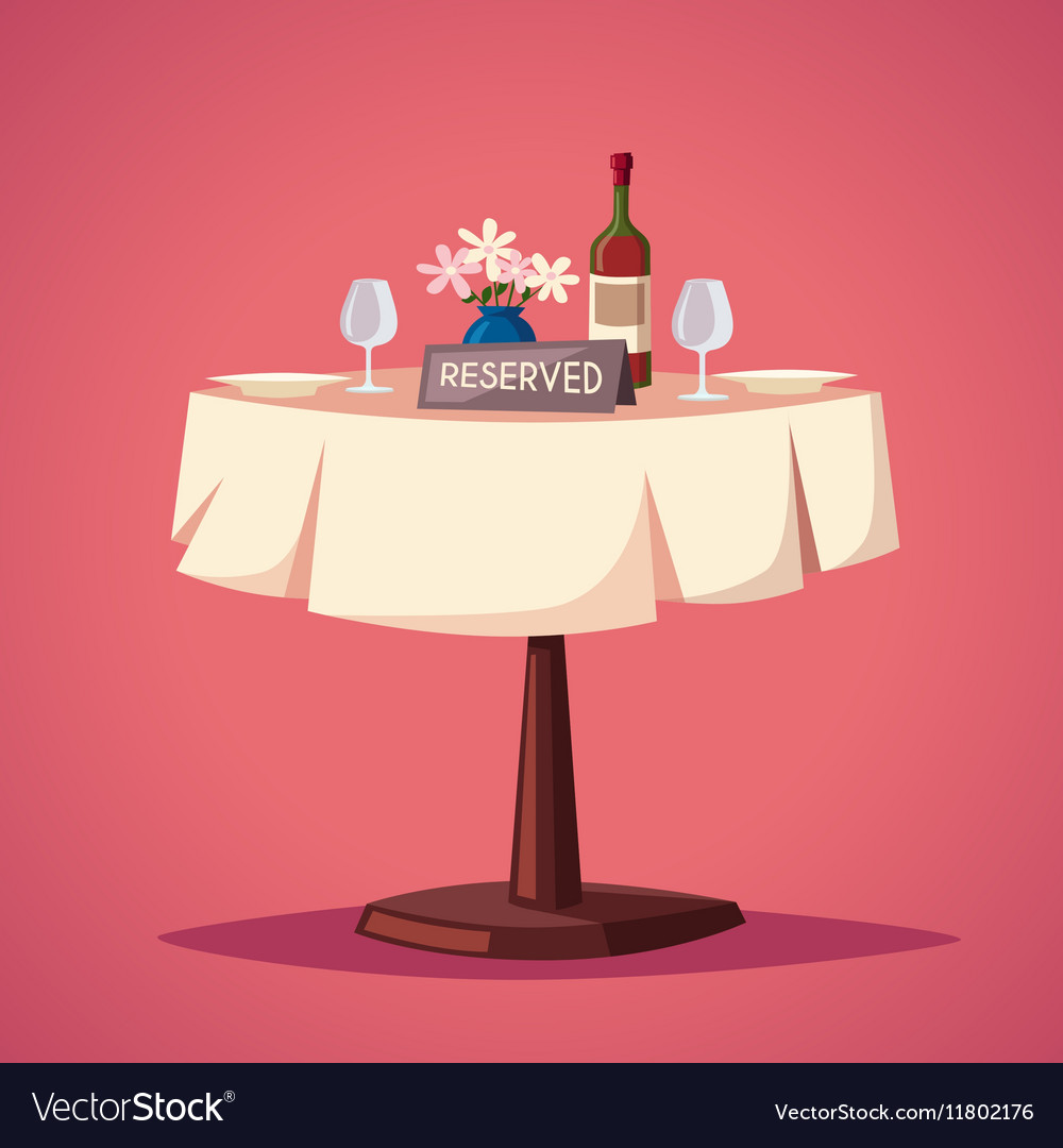 Reserved Sign On Table In Restaurant Cartoon Vector Image