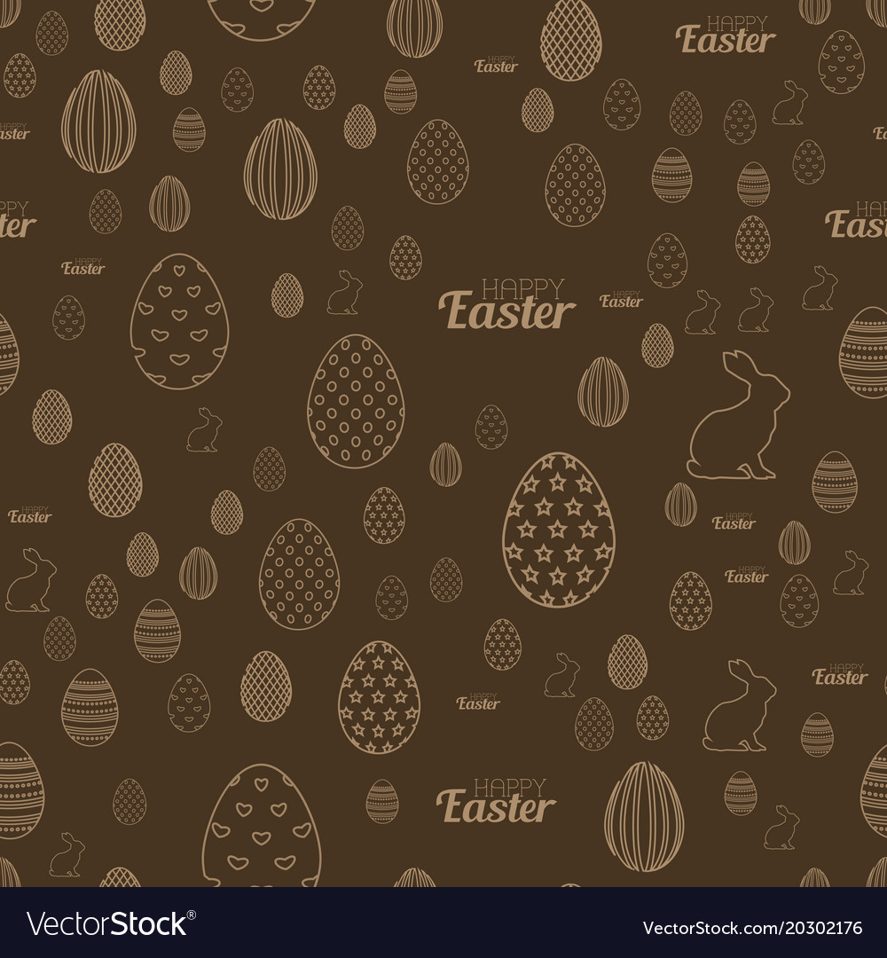 Seamless easter pattern with chocolate background