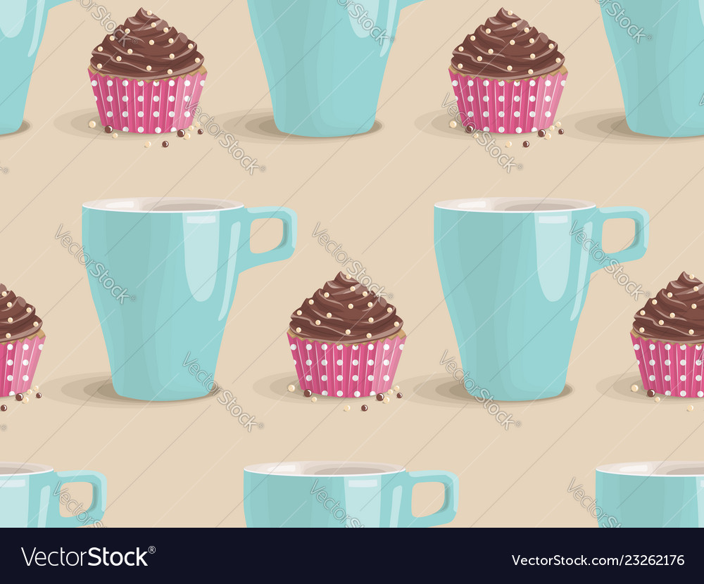 Seamless pattern of chocolate cakes and cup
