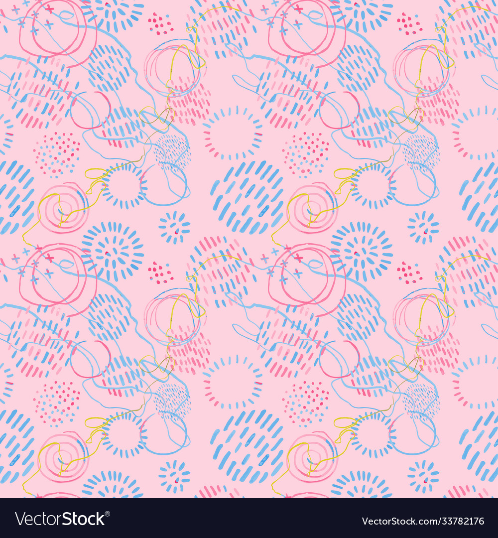 Seamless pattern with colorful hand drawn abstract