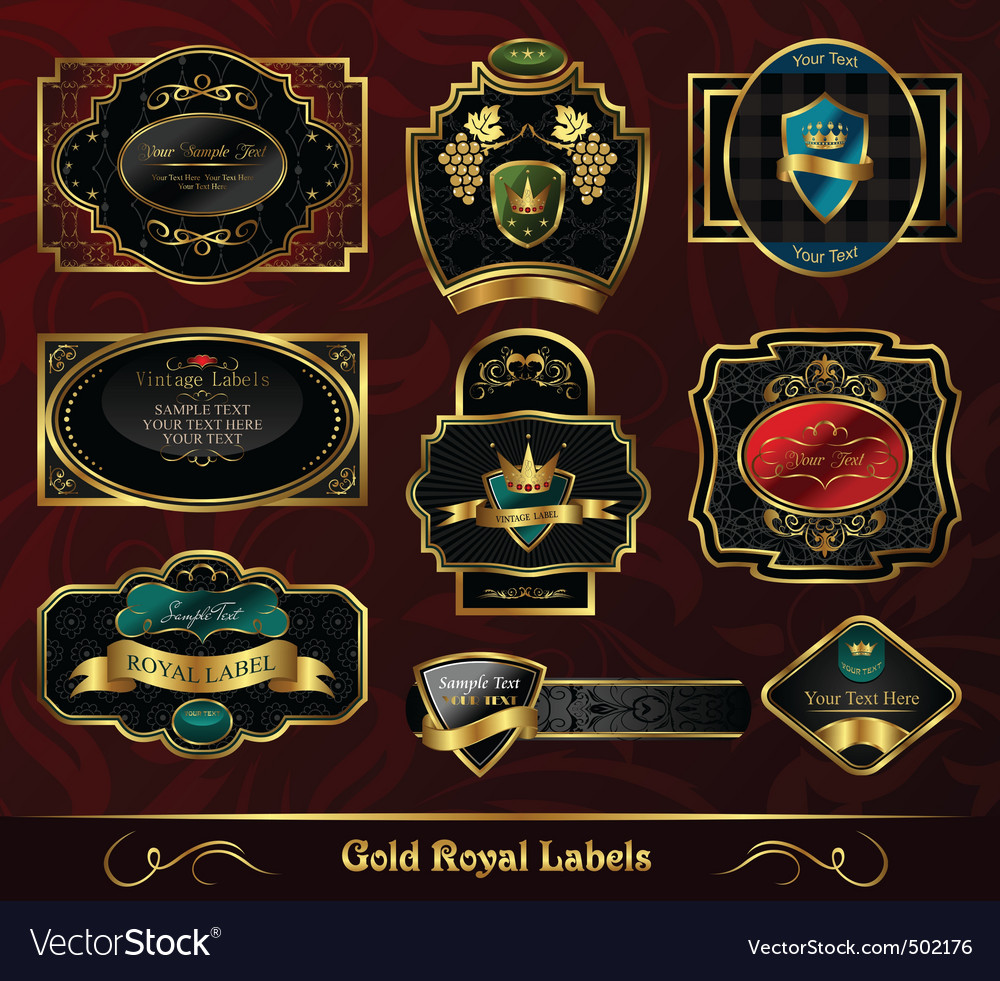 Set colorful gold framed labels