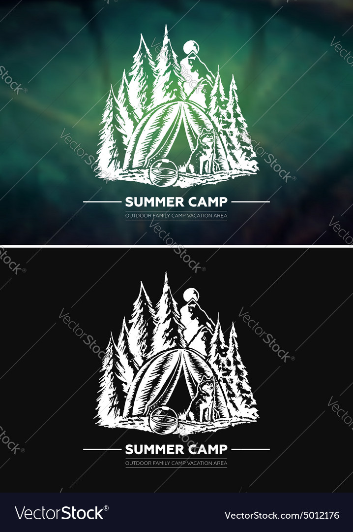 Vintage summer outdoor hiking and camping retro