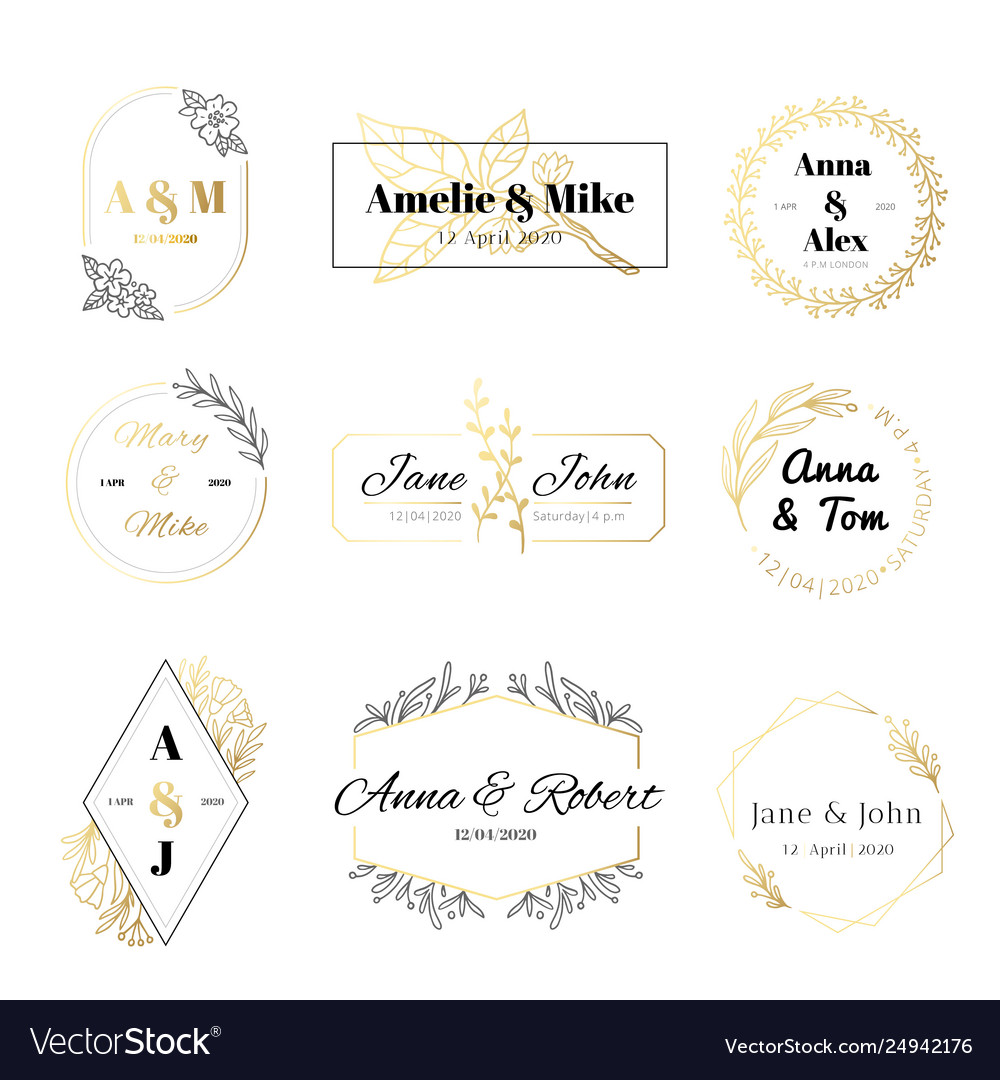 Wedding invitation labels minimalist floral