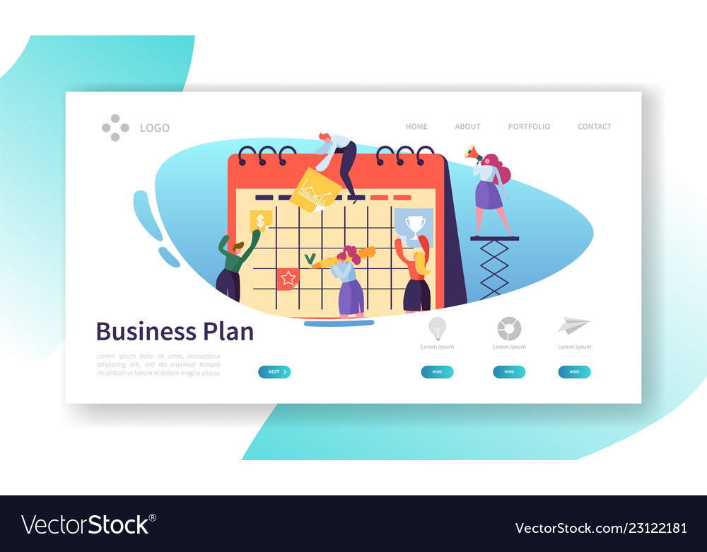 Business calendar plan landing page template
