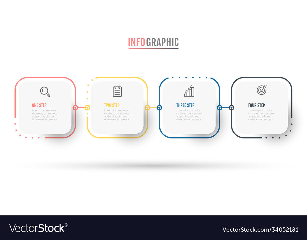 Business infographic label design with 4 steps