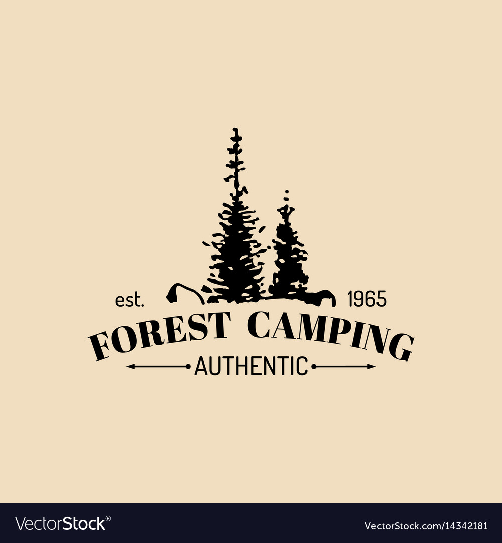 Camp logo tourism sign with hand drawn