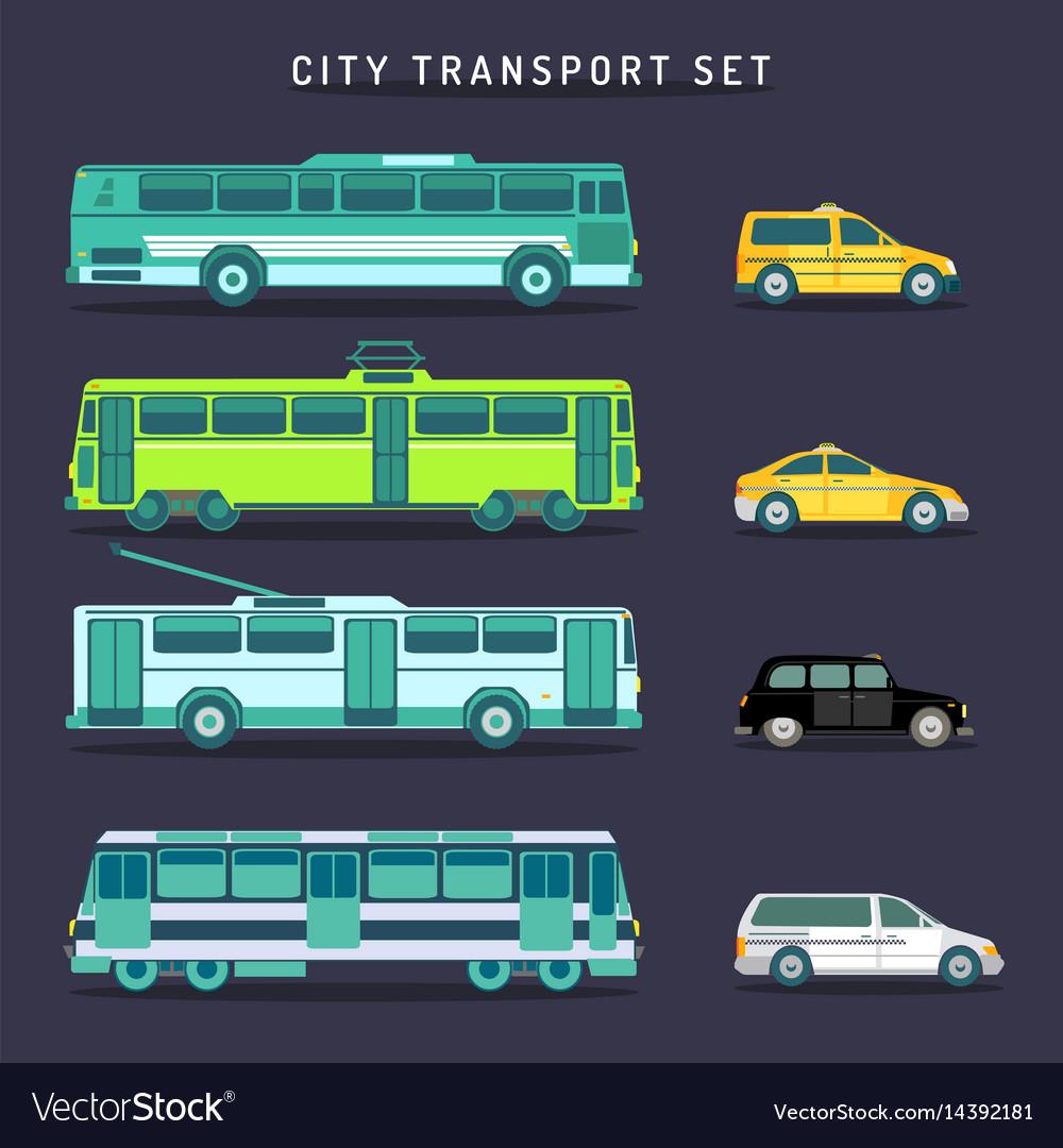 City transport set in flat style urban