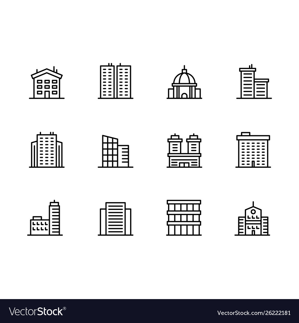 House and building icon simple symbols set