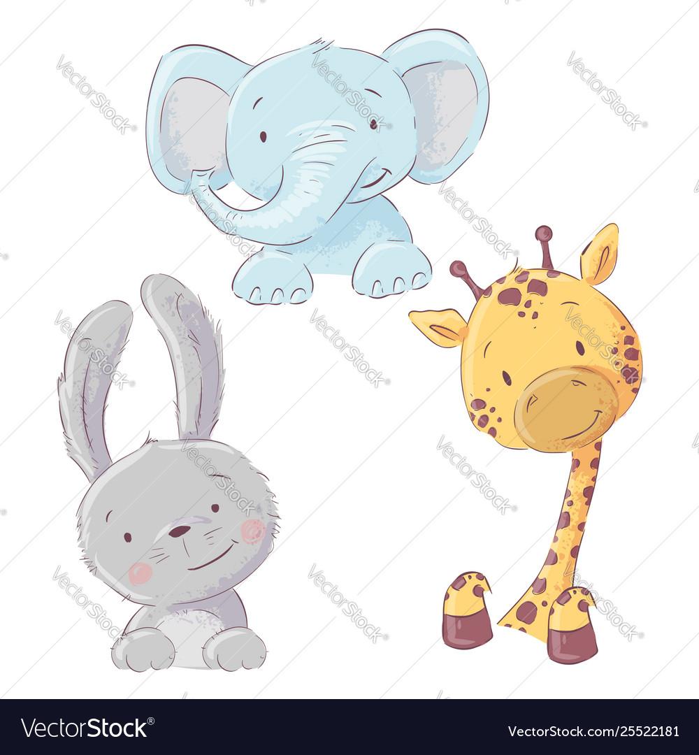 Set baby elephant bunny and giraffe cartoon