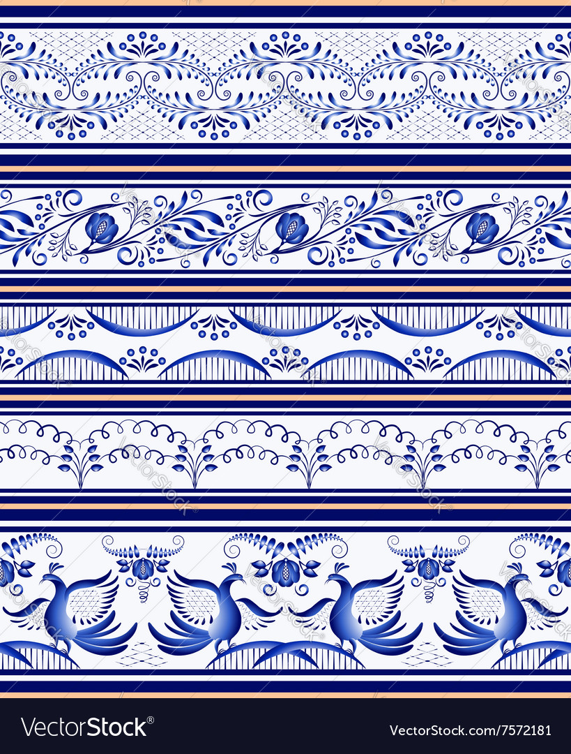 Set of seamless horizontal borders or ethnic style vector image