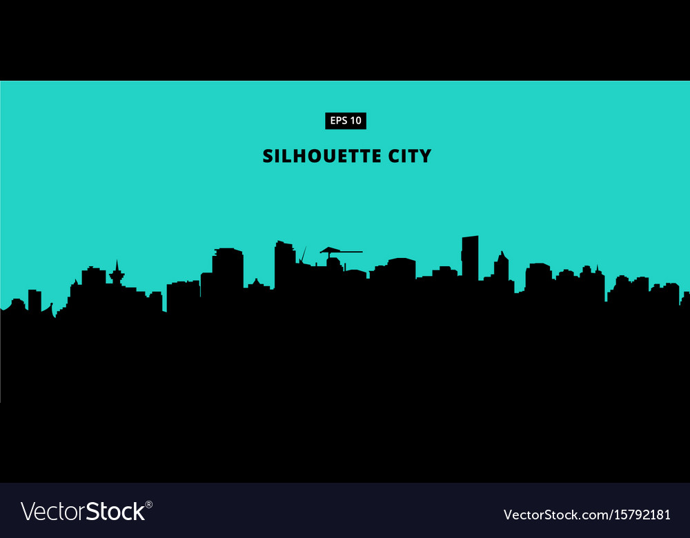 Silhouette city on blue background flat