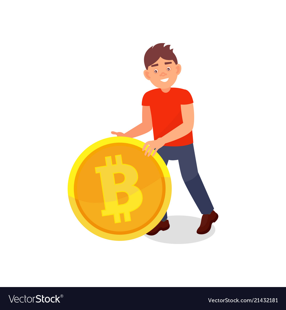 Smiling young man with big golden bitcoin