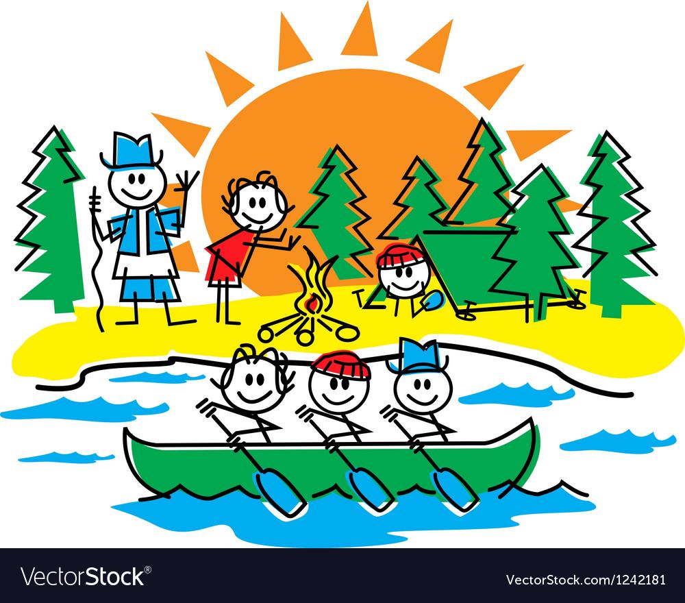 Stick figure camping