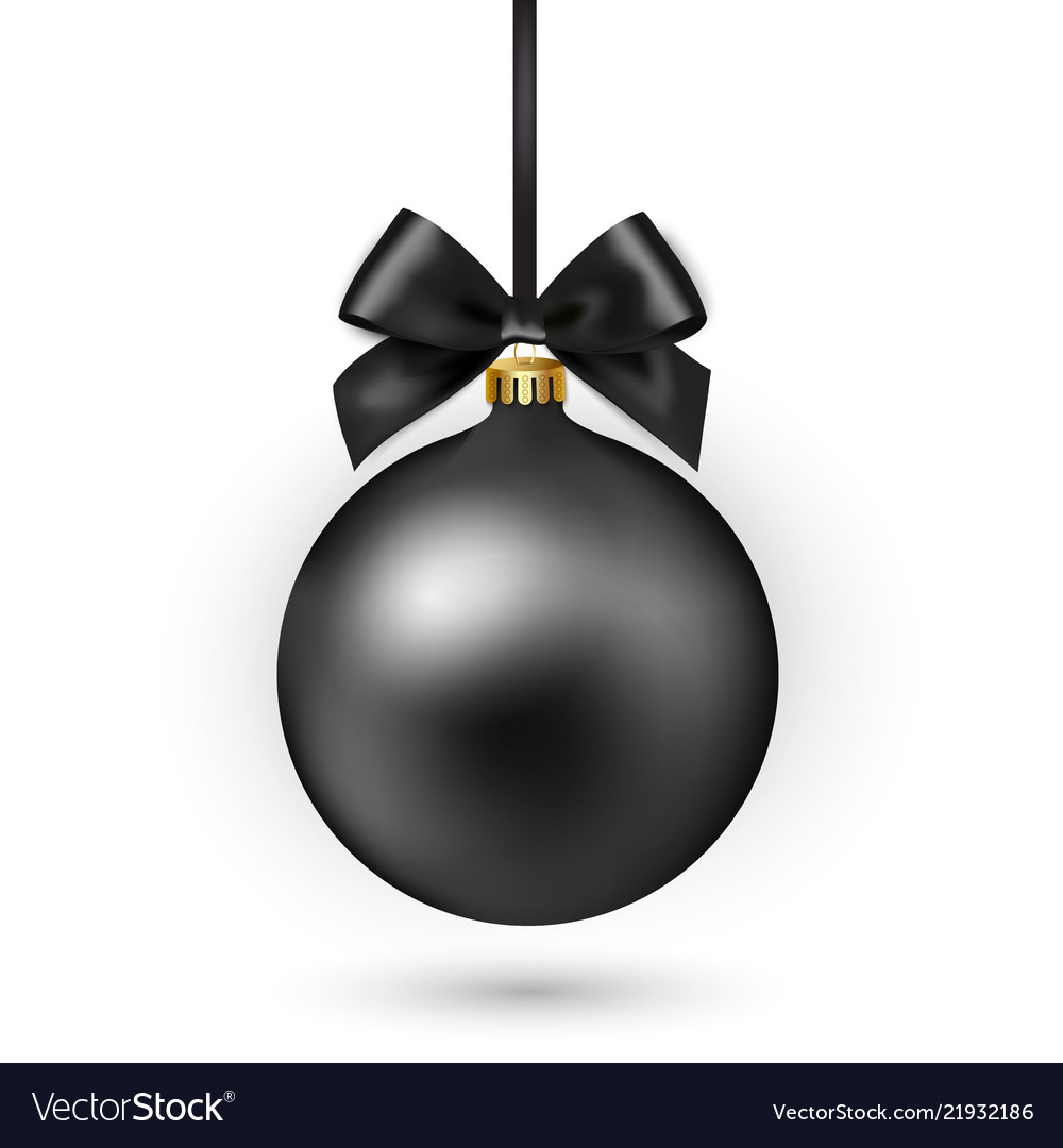 Black christmas ball with ribbon and bow on white