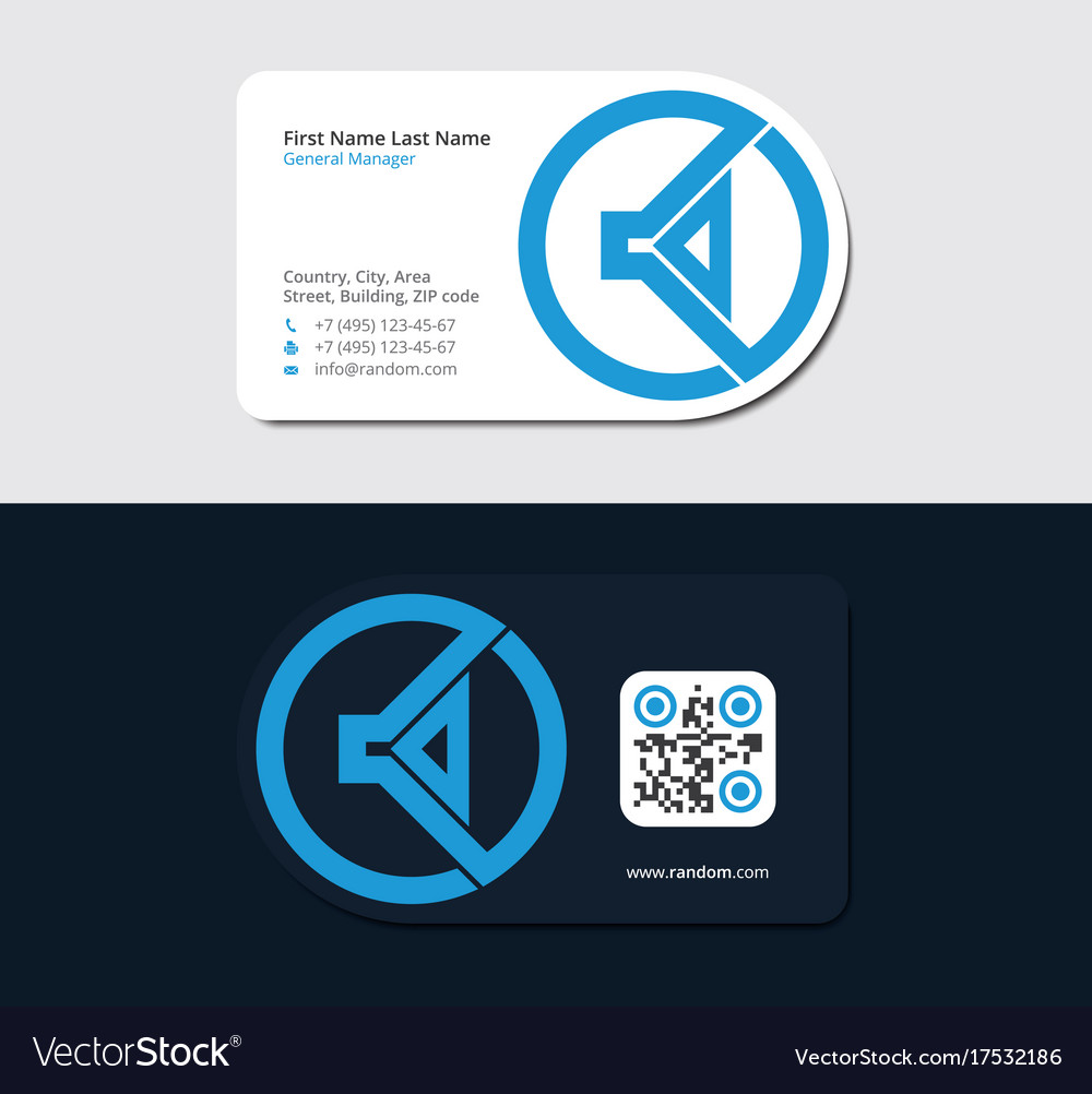 Blue business card with music headphone Royalty Free Vector