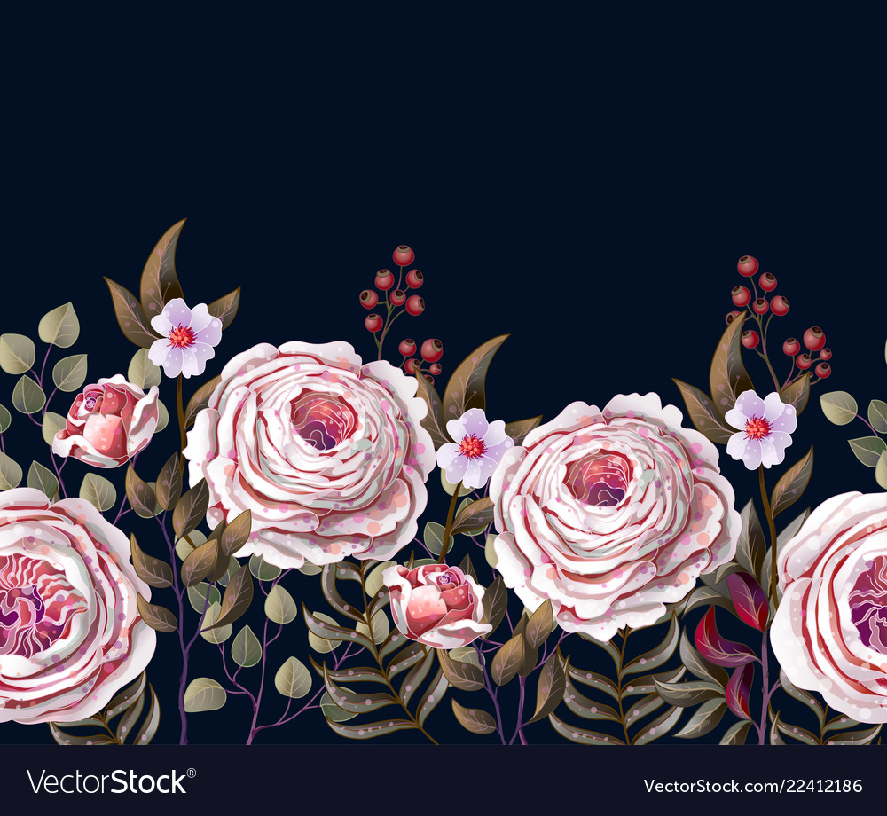 Border with english pink roses