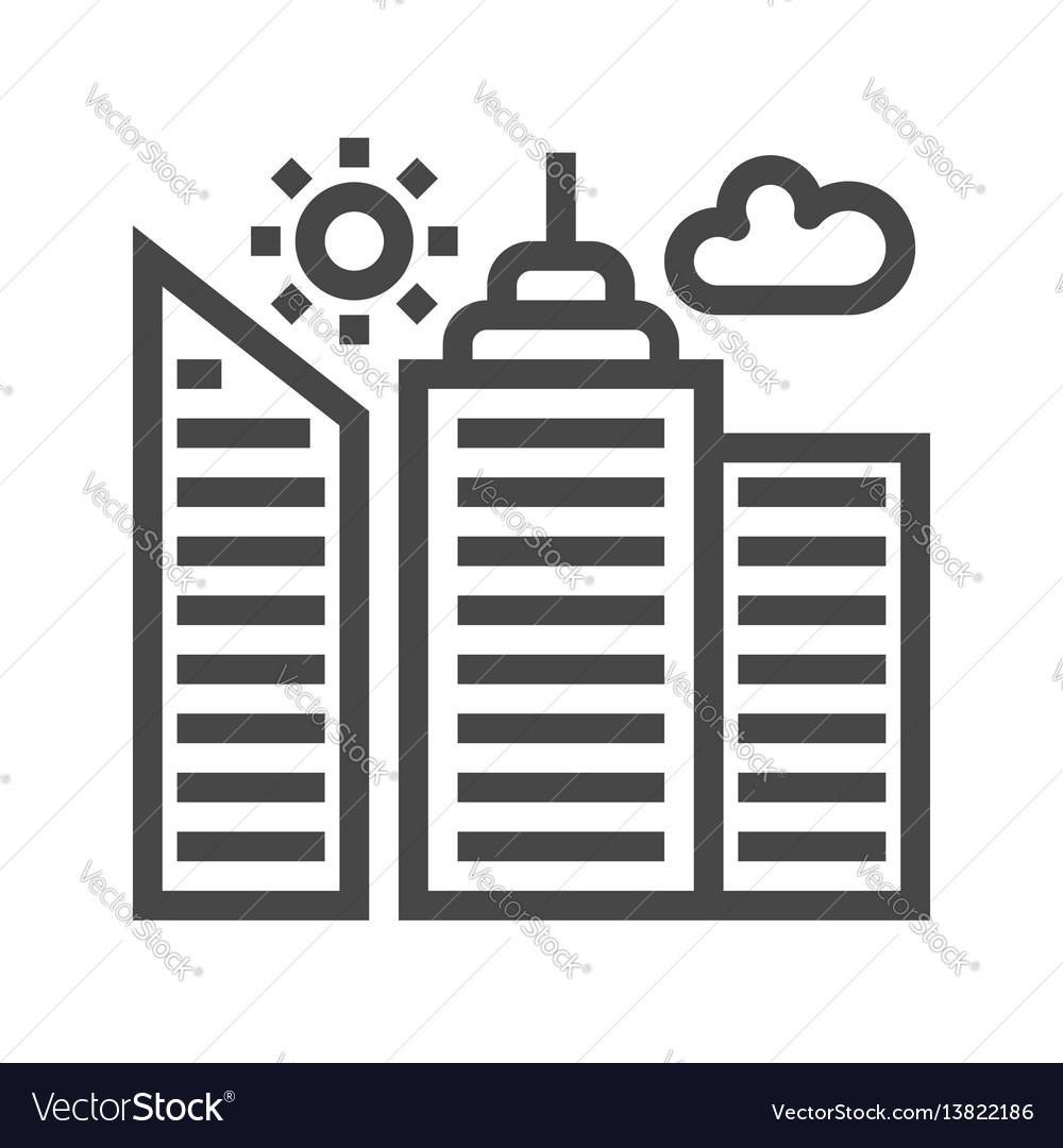City building thin line icon vector image