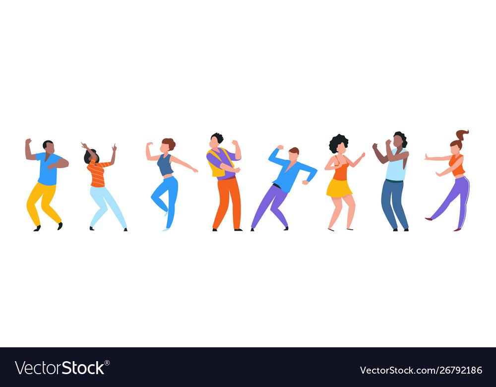 Dancing people happy trendy men and women dancers