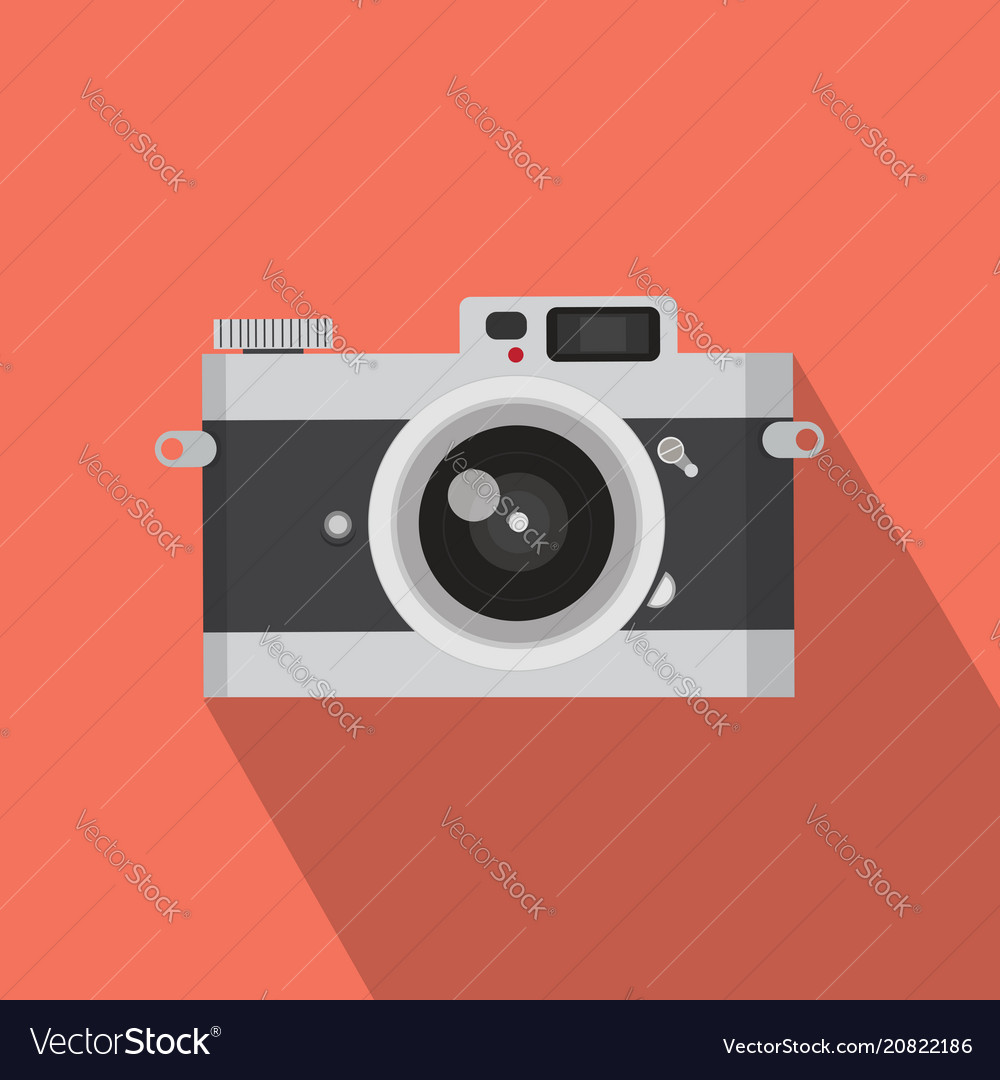 Flat design vintage camera with long shadow
