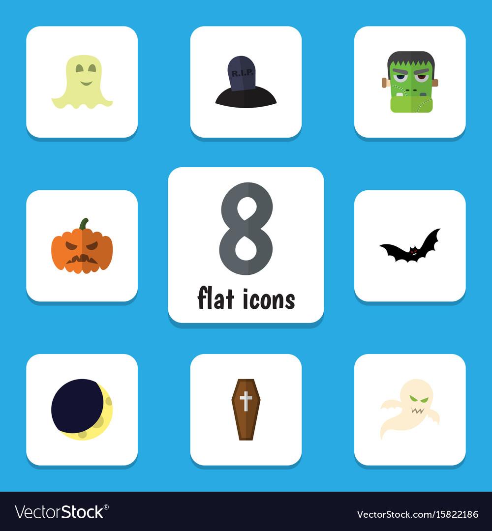 Flat icon halloween set of superstition spirit vector image