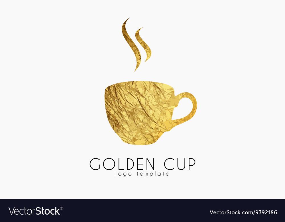 Golden tea cup golden cup coffee cup logo
