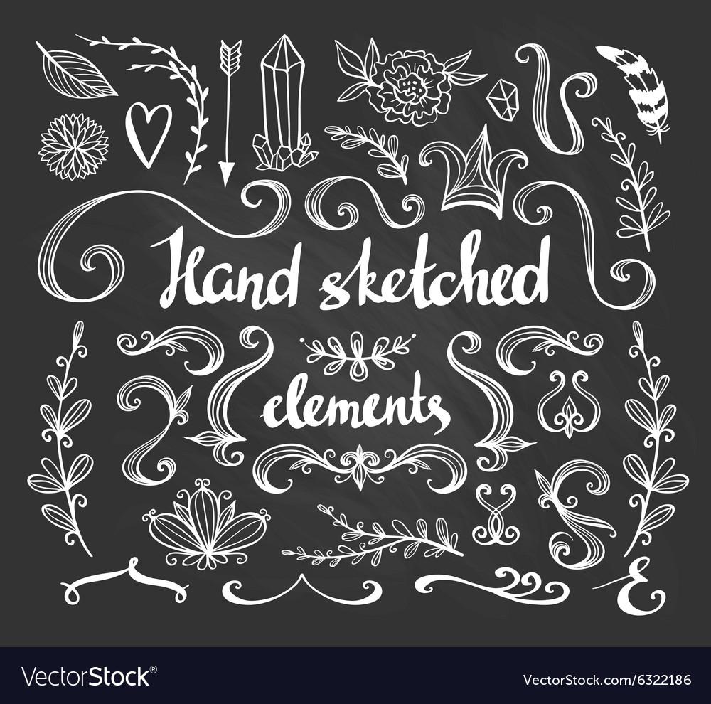 Hand drawn vintage floral elements set flowers
