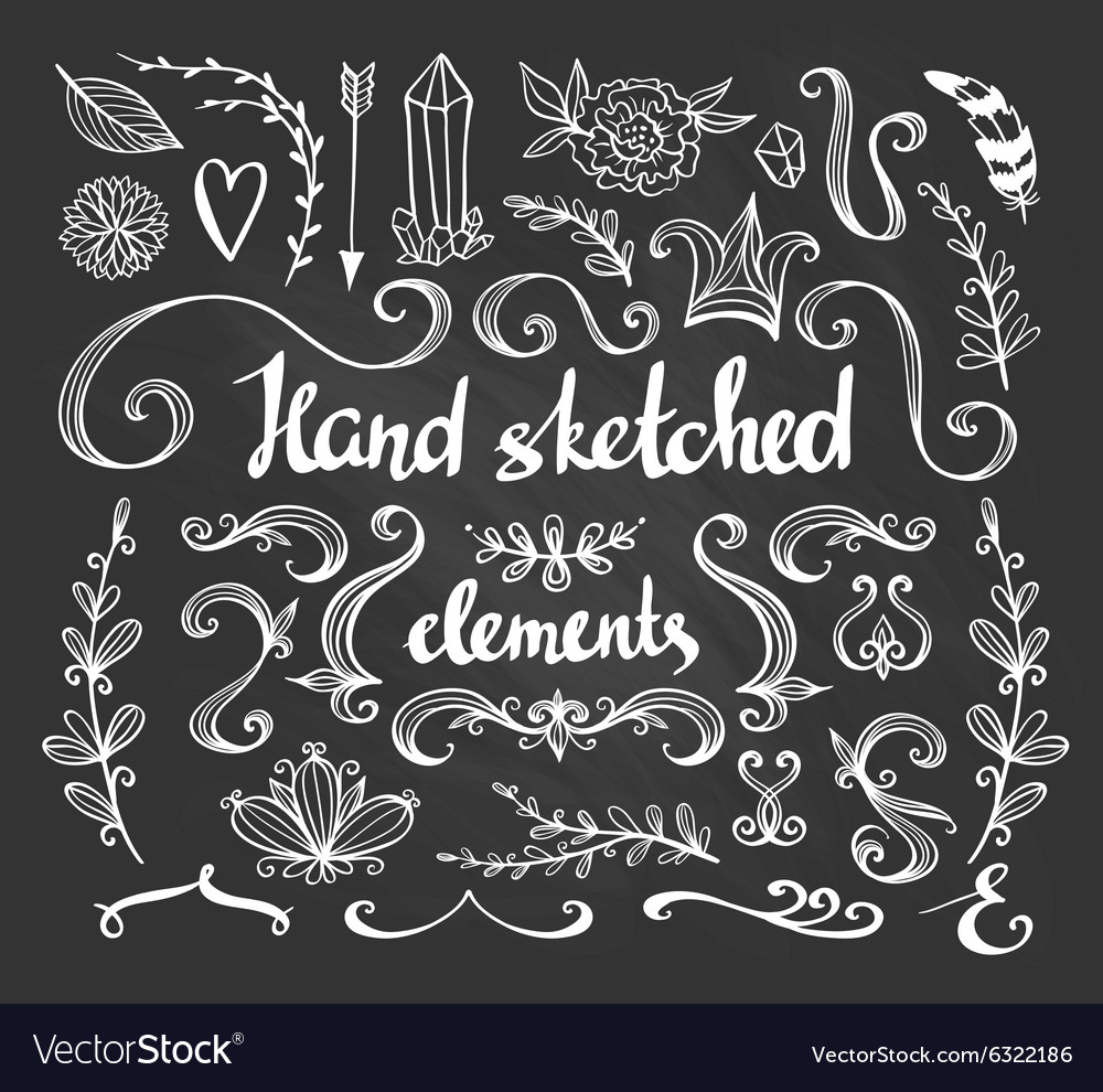 Hand Drawn vintage floral elements Set of flowers