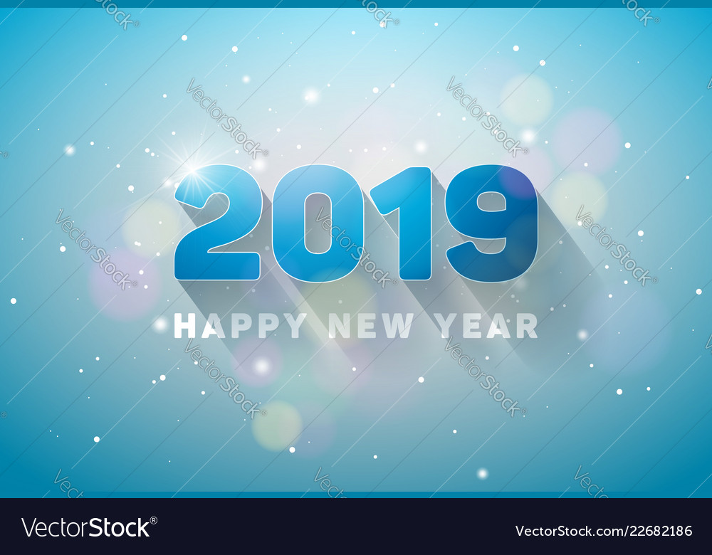 Happy new year 2019 with 3d number on