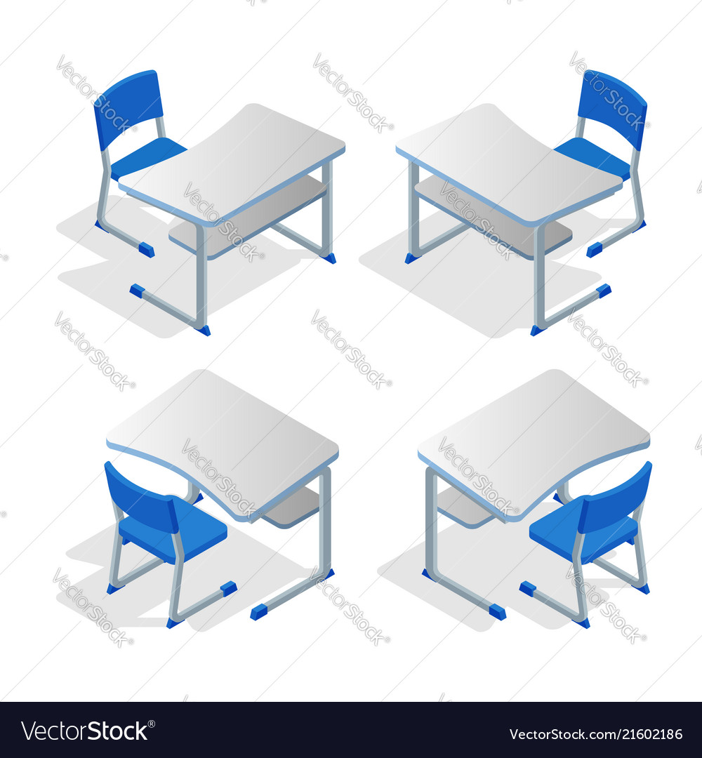 Isometric set of school or college desk table with