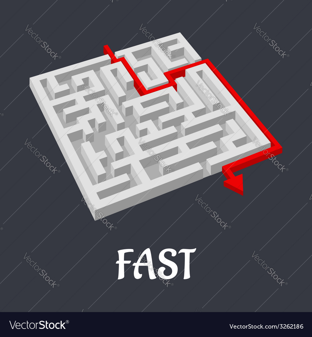 Labyrinth puzzle with a fast short solution